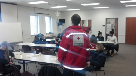American Red Cross volunteers socializing after handing out fire safety information to residents in the Ypsilanti-Ann Arbor area.